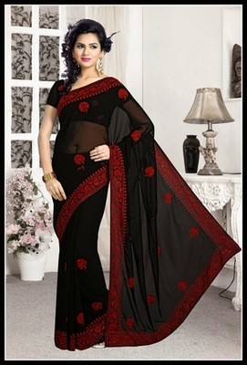 Aesthetic Black Embroidered Saree