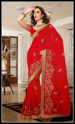 Vivacious Red Embroidered Saree