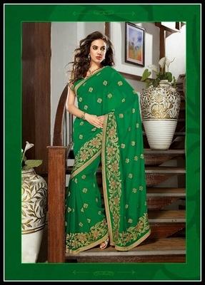 Vivacious Green Embroidered Saree