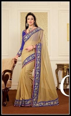 Elegant Beige Embroidered Saree