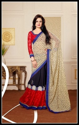 Captivating Deep Navy Blue, Cream & Red Embroidered Saree