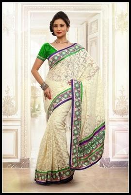 Attractive Off White Embroidered Saree