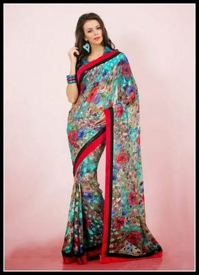 Aesthetic Cyan Blue & Pale Beige Embroidered Saree