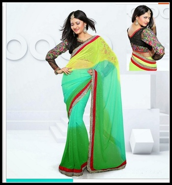 Attractive Green, Yellow & Pale Greenish Blue Embroidered Saree