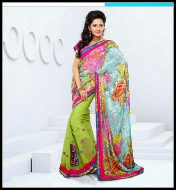 Attractive Pink & Pale Aqua Blue Embroidered Saree