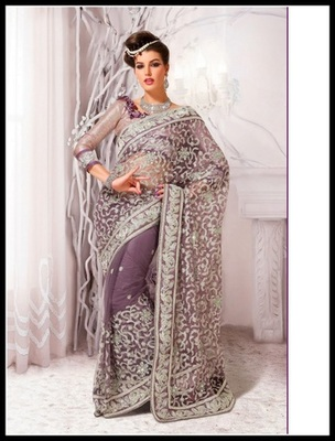 Melodic Pale Bluish Purple & Pale Rosy Brown Embroidered Saree