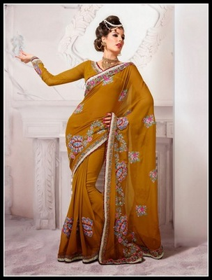Contemporary Gold Color Embroidered Saree