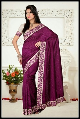 Scintillating Wine Embroidered Saree
