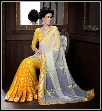 Scintillating Cream & Yellow Embroidered Saree