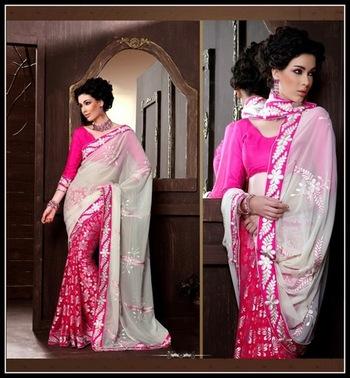 Vivacious Cream & Fuchsia Embroidered Saree