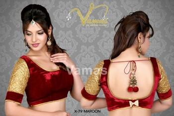 Exquisite Elbow Length Velvet Saree Blouse  - x 79m- maroon. Muhenera presents vamas designer collection