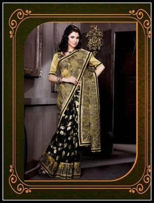 Alluring Beige & Black Embroidered Saree