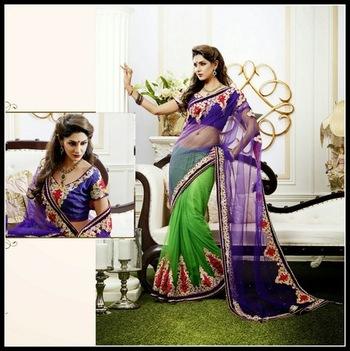 Exquisite Deep Purple & Pale Parrot Green Embroidered Saree