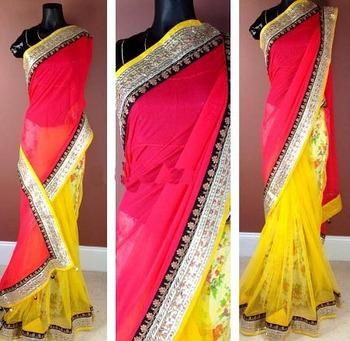 Impressive embroidered gotta- patti saree with peach work