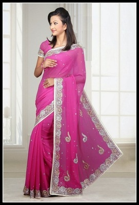 Tranquil Pink Embroidered Saree