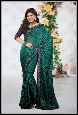 Unique Black & Greenish Blue Embroidered Saree