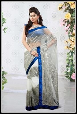 Elegant Off White & Silver Embroidered Saree