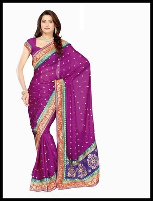 Dazzling Diva Violet Embroidered Saree