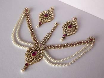Classic Rajwada Style Matha Patti in Kundan & Pearls
