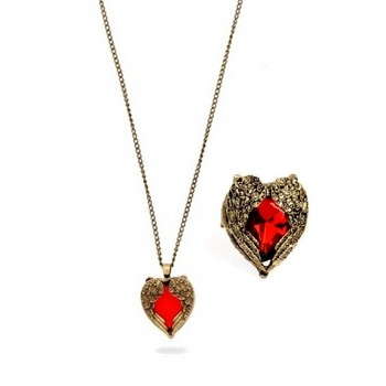Red Heart Necklace and Ring Set