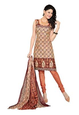 CottonBazaar Orange Colored Cotton Printed Un-Stitched Salwar Kameez
