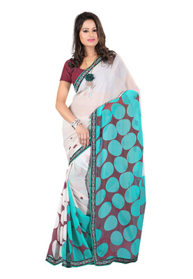 Fabdeal White & Teal Colored Georgette Saree