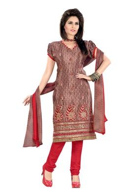 Fabdeal Light Brown Colored Crepe Jacquard Embroidered Unstitched Salwar Kameez