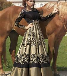 Buy Beige and black bhagalpuri and digital print georgette embroidered semi stitiched party wear gowns party-wear-gown online