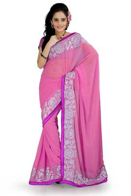 Blush pink faux georgette saree with blouse (aks885)