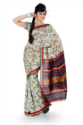 Cream bhagalpuri silk saree with blouse (als835)