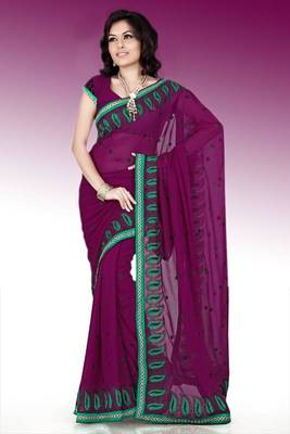 Wine faux georgette saree with blouse (anm491)