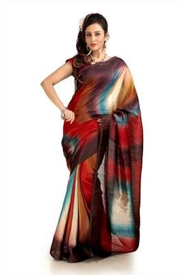 Multicolor bhagalpuri silk saree with blouse (pdm1120)
