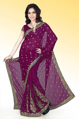 Wine faux georgette saree with blouse (anm497)