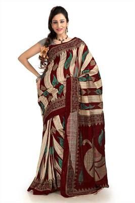 Dark maroon, cream and teal green bhagalpuri silk saree with blouse (pdm1125)