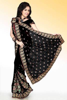 Sable black faux georgette saree with blouse (anm500)