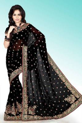 Black faux georgette saree with blouse (anm508)