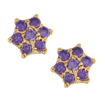 Purple gold plated stud earring