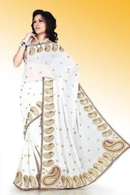White faux georgette saree with blouse (anm513)