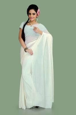 Off white chiffon saree with blouse (ang866)