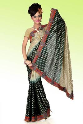Shaded beige and grayish black viscose saree with blouse (anj578)