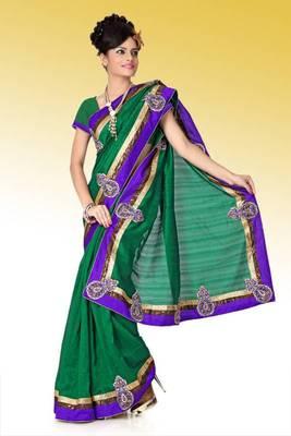Deep green bhagalpuri silk saree with blouse (anj582)