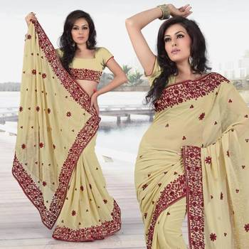 Bollywood Women's Indian Ethnic  Designer cream color georgette Wedding Saree with Blouse Unstitched(256)