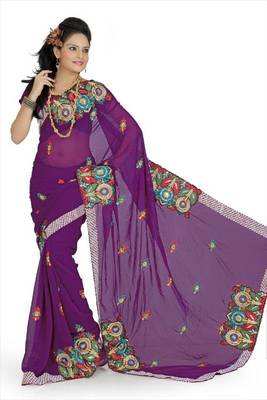 Purple faux georgette saree with blouse (aps692)