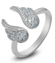 Buy Silver Angel Wings Ring With CZ Stones fashion-deal online