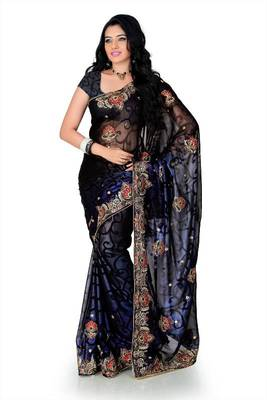 Blue and brown faux shimmer georgette saree with unstitched blouse (myr1223)