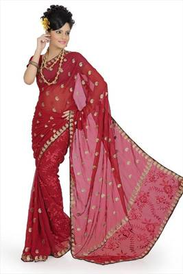 Maroon faux georgette saree with unstitched blouse (avn641)