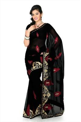 Black chiffon saree with unstitched blouse (myr1245)