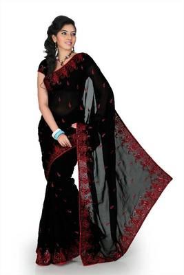 Black faux georgette saree with unstitched blouse (myr1249)