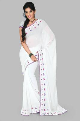 White faux georgette saree with unstitched blouse (myr1251)