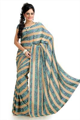Beige and Turquoise chiffon jacquard saree with unstitched blouse (krs970)